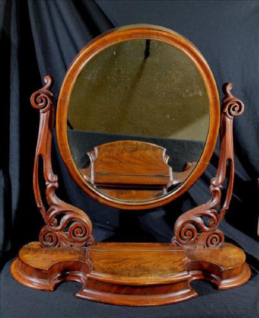 Mahogany Empire shaving mirror w lift top jewelry box