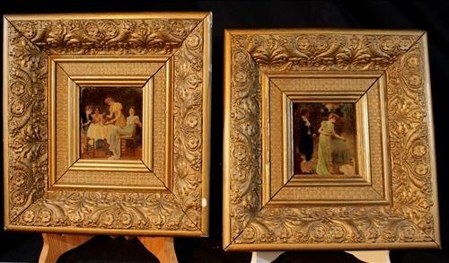 Pair old Victorian  gold gilded frames with prints