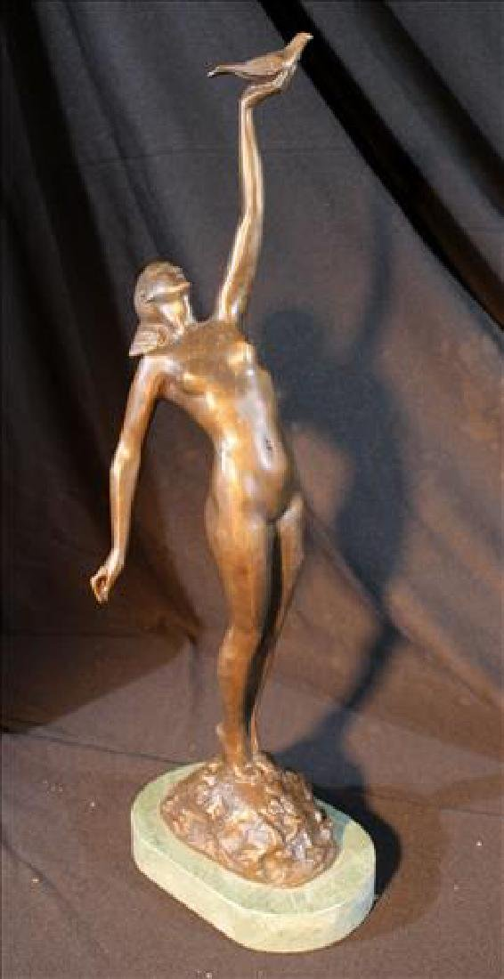 Contemporary bronze bust of a girl holding bird, 22 in.