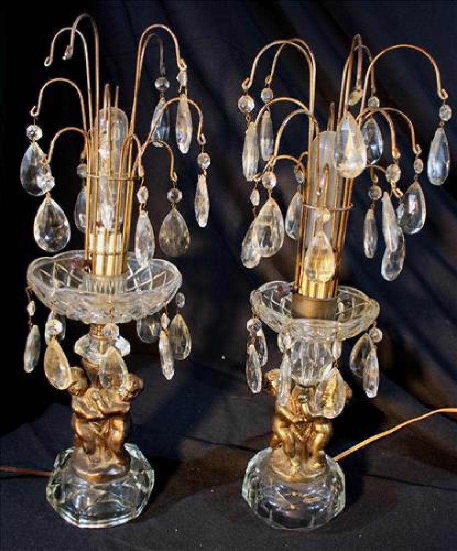 Pair of cupid lamps, 19 in. T.