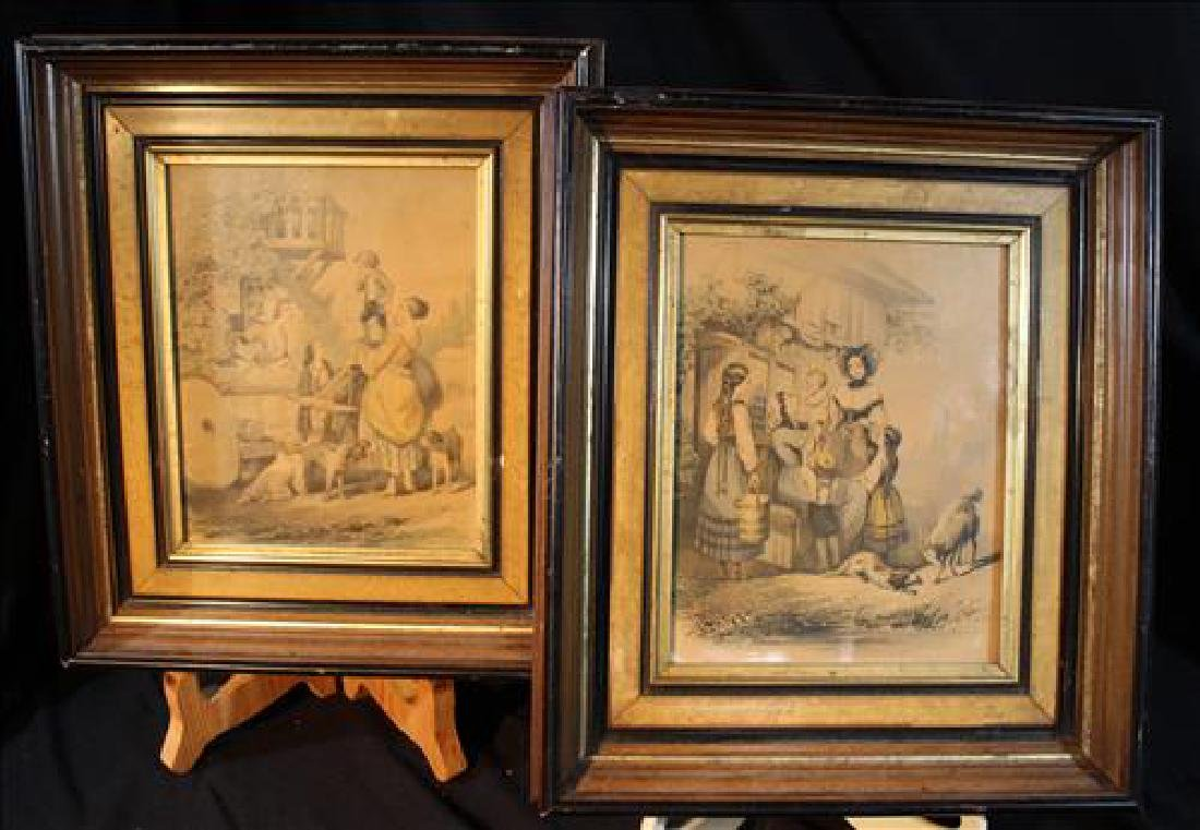 Pair walnut Victorian frames with Victorian prints, 15