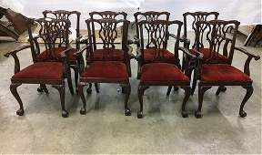 8 Mahogany Chippendale arm chairs