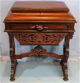 Walnut Victorian sewing cabinet with lift top