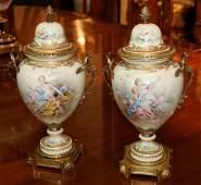 Fine pair 19th Century Sevres scenic urns
