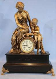 French mantle clock with mother and child 26 in. T.