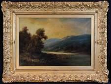 19th Century oil on canvas of mountain scene