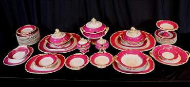 45 piece Old Paris dinnerware in purple and gold