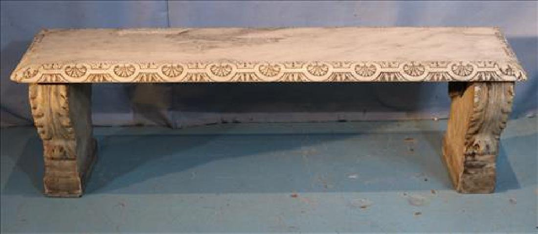 Marble carved garden bench, 56 in. W.