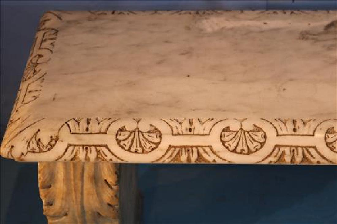 Marble carved garden bench, 56 in. W. - 2