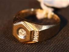 14 kt Gold mens ring with 3 diamonds