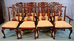 Set of 12 mah. Chippendale dining chairs