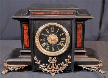 French marble mantle clock, Jeanne d' Are Rouen