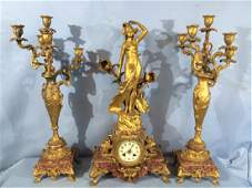 3 piece Spelter French marble and bronze mantle clock