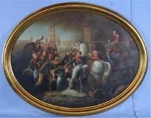Contemporary oil on board of Napoleon in battle, 38 x