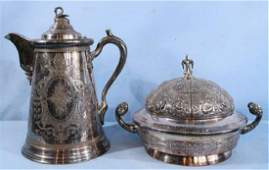 2 Victorian silverplate serving pieces 1 dated 1869