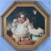 Print on artist board in gold frame of small girls