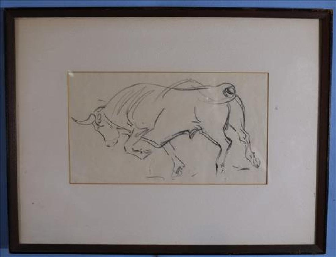 Grease pencil sketch, Study of a bull by Borein