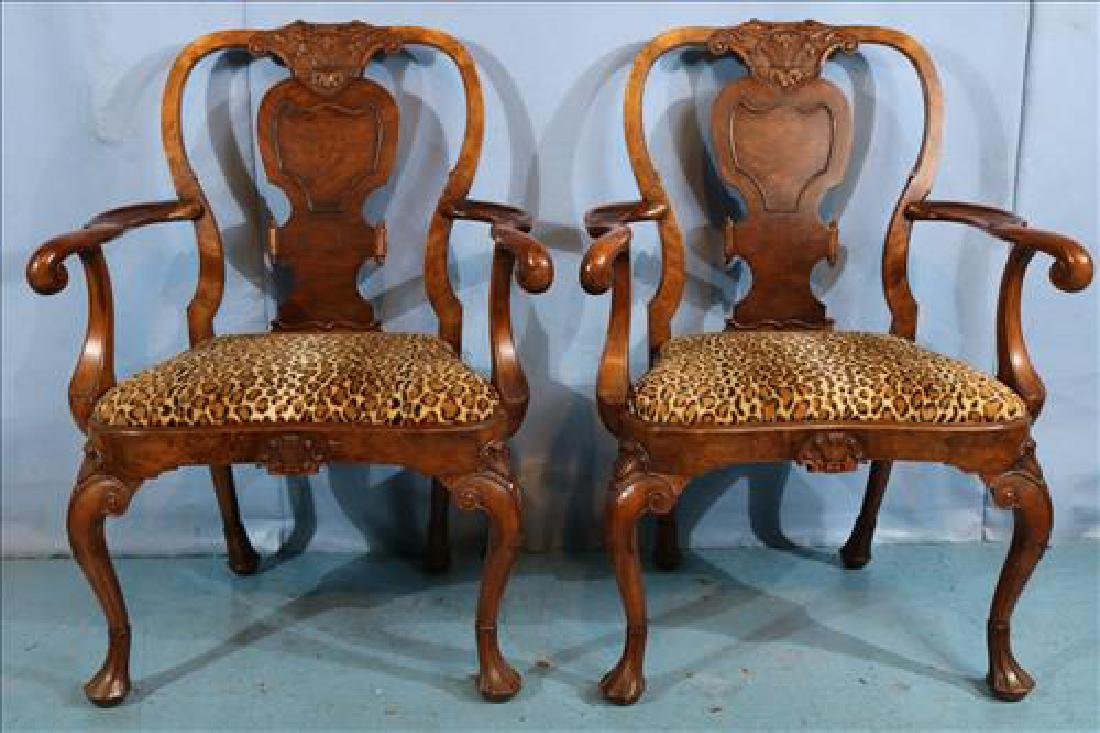 Pair Italian arm chairs with leopard upholstery