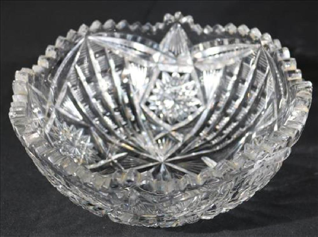 Brilliant cut glass bowl signed Libby