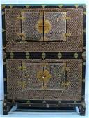 Korean chest on chest with mother of pearl inlay