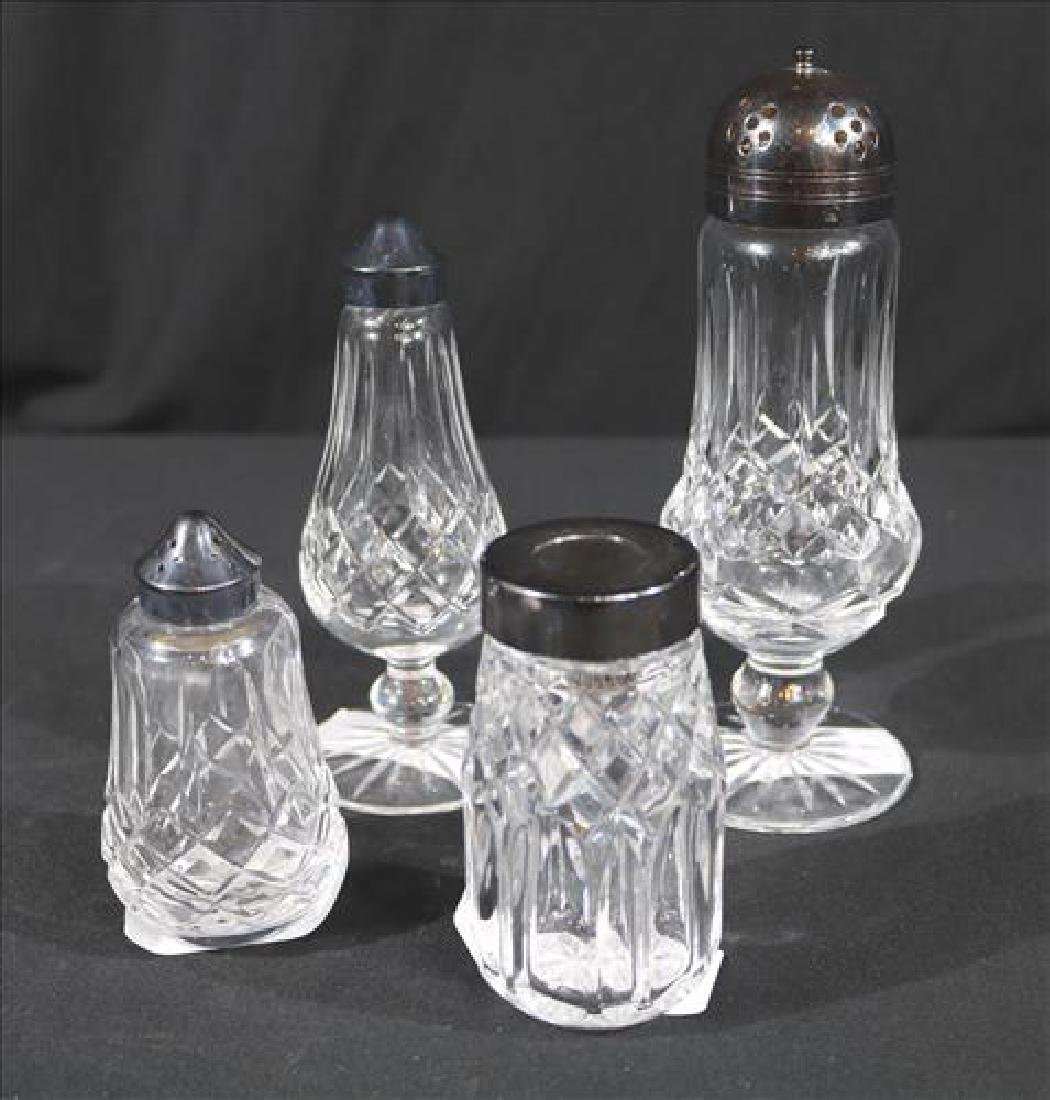 4 pieces of Waterford, salt, pepper and sugar shakers