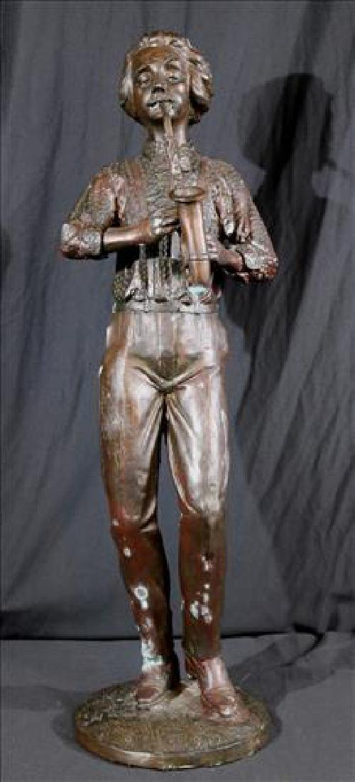 Bronze statue of saxophone player. 29 in. T.