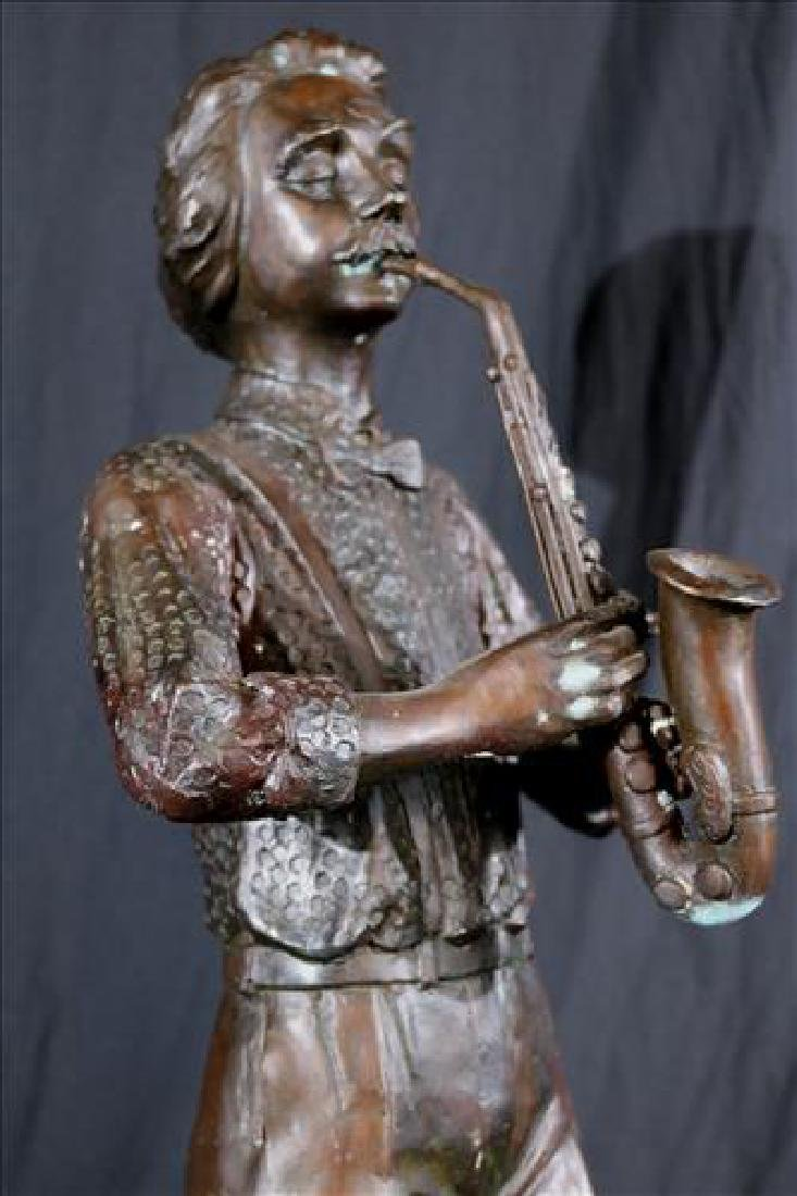 Bronze statue of saxophone player. 29 in. T. - 3