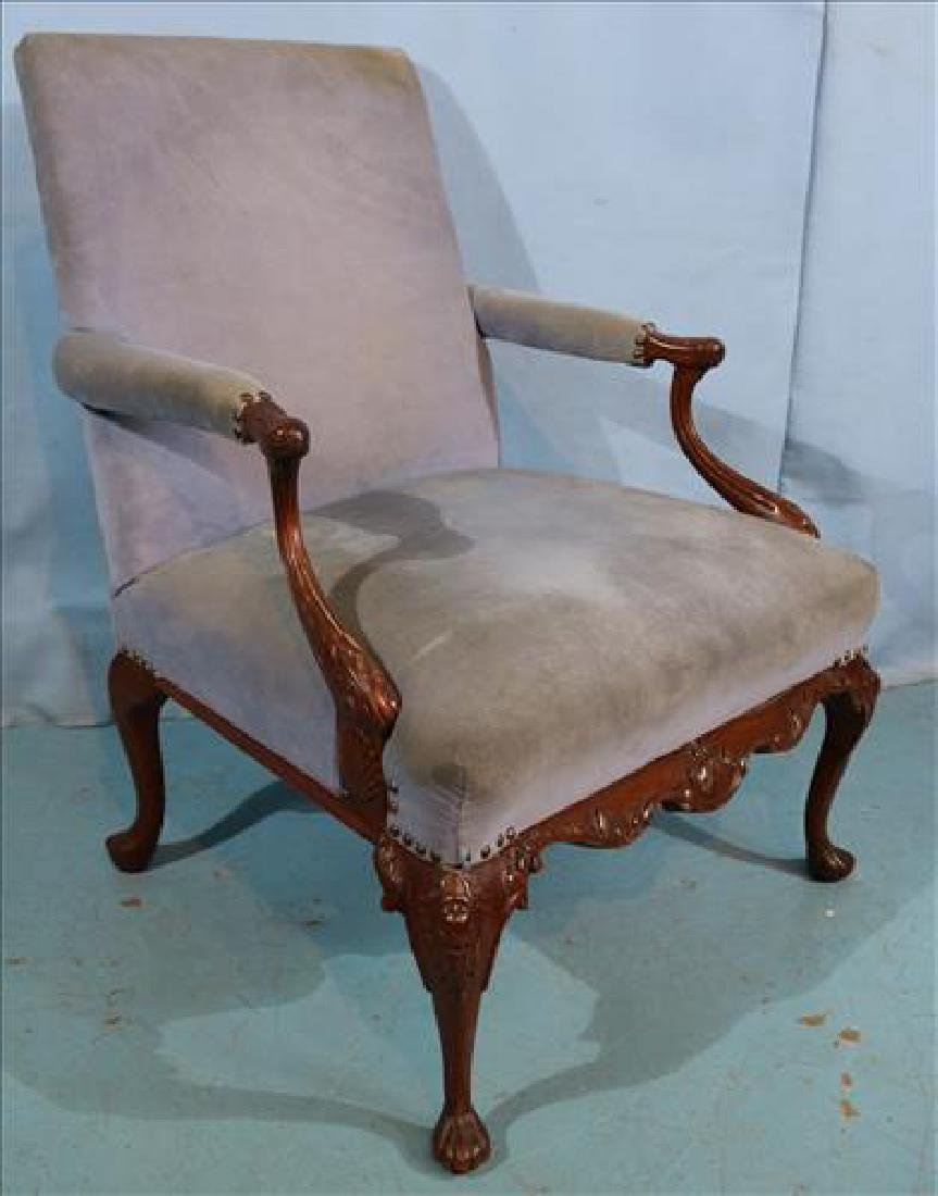 French style arm chair with purple upholstery - 2