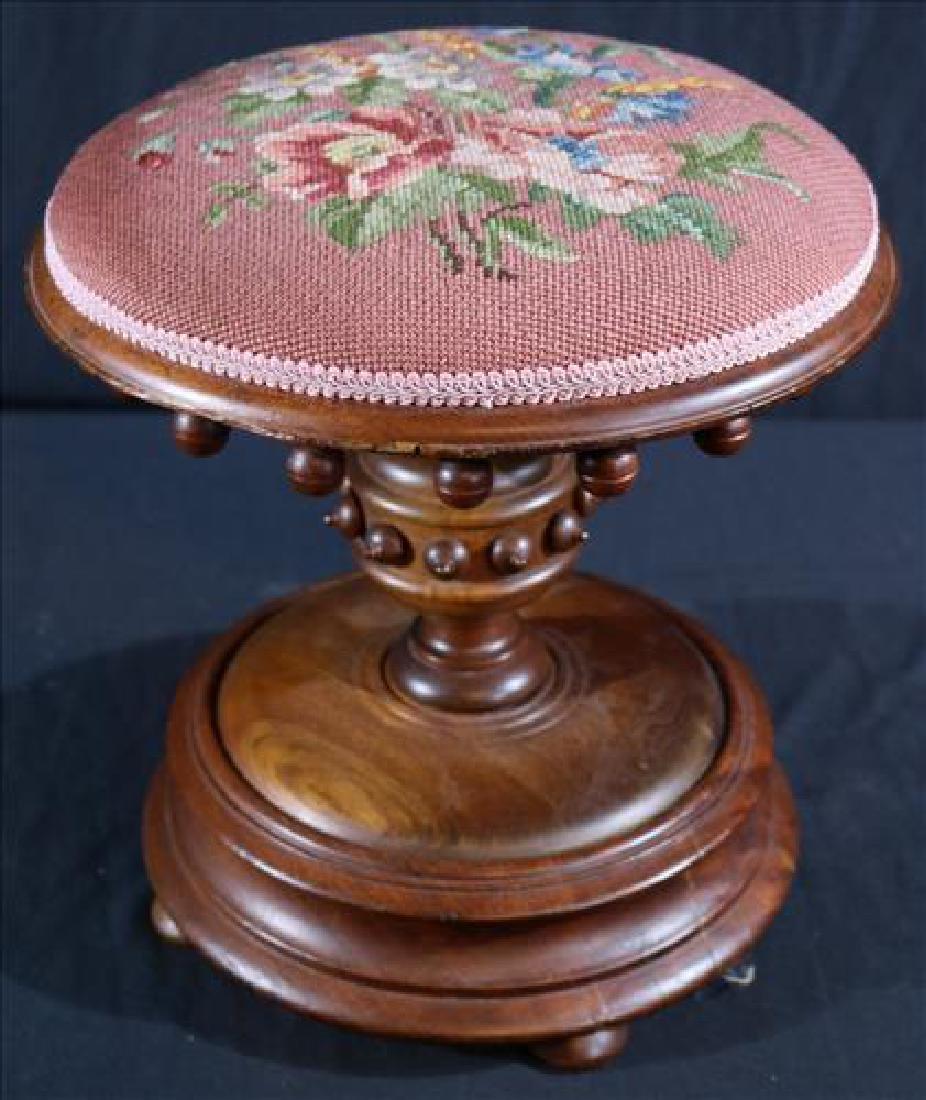 Walnut Victorian foot stool with needlepoint