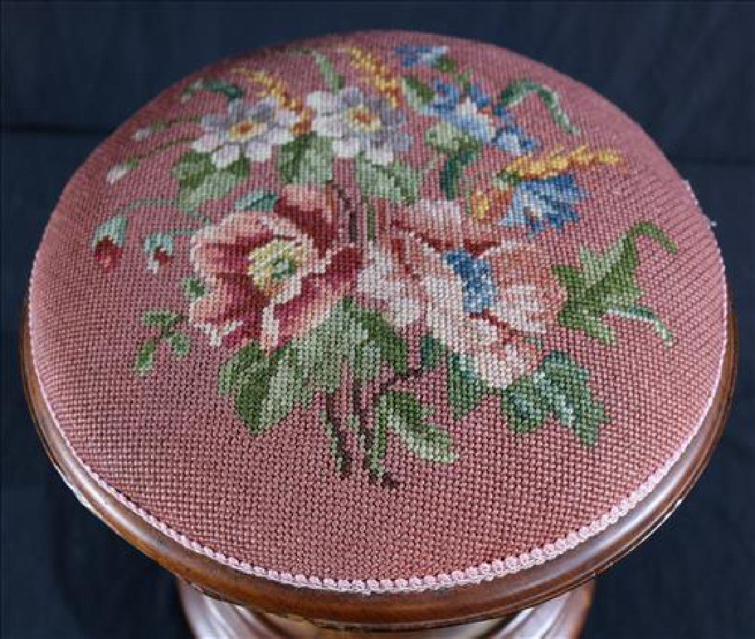 Walnut Victorian foot stool with needlepoint - 2