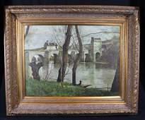 Contemporary oil on canvas of river scene 28 x 33