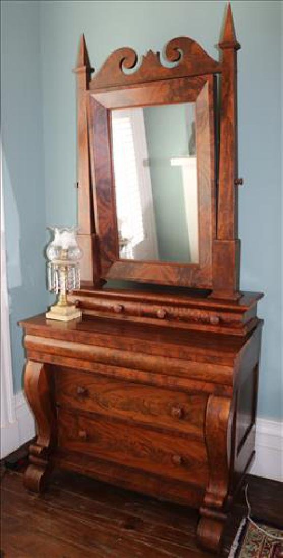Period Empire mahogany gothic dresser with scroll front