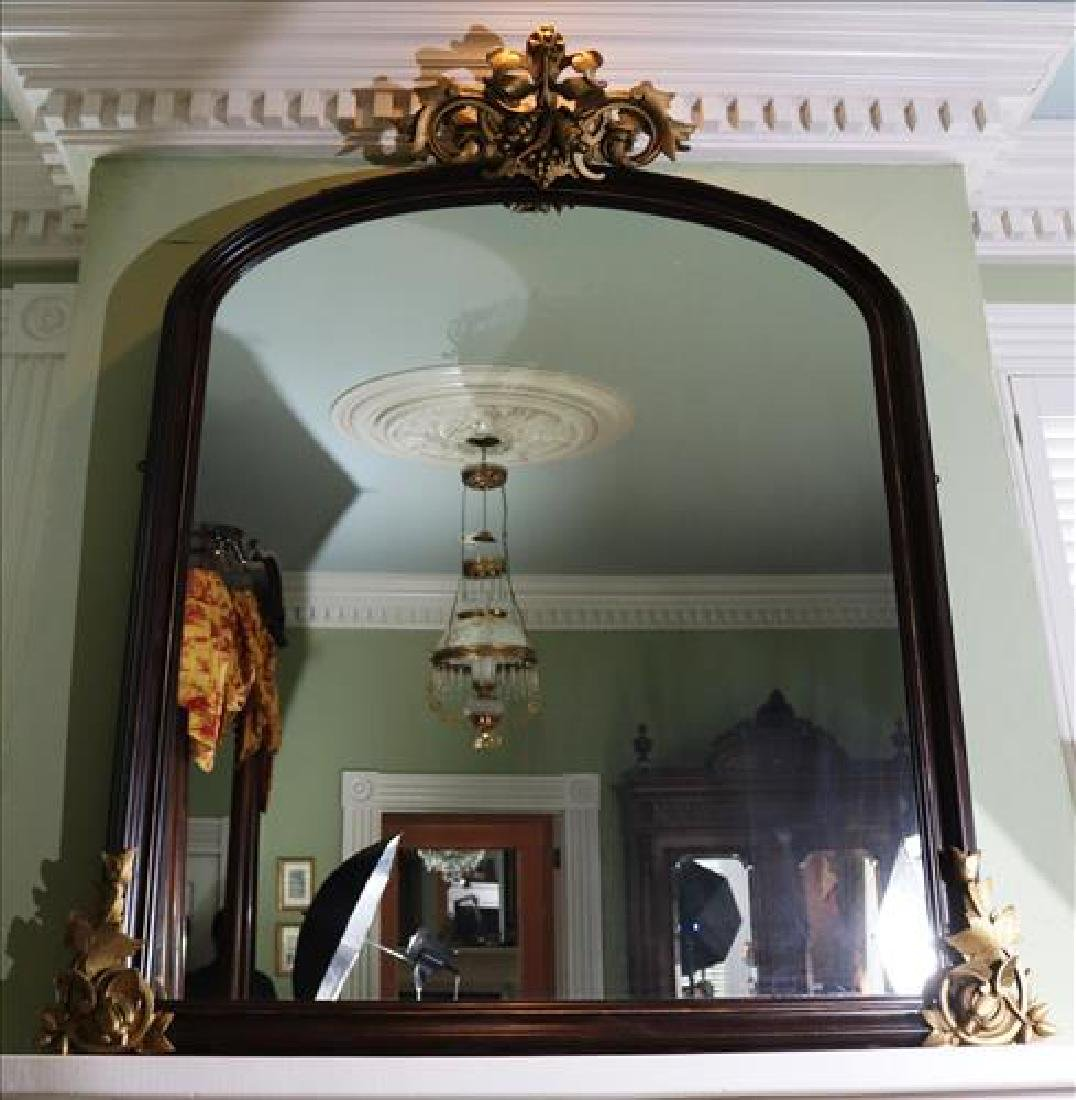 Walnut Victorian over the mantle mirror with crown