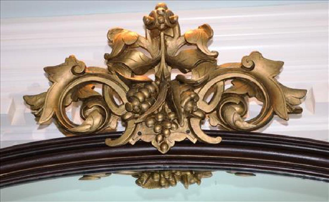 Walnut Victorian over the mantle mirror with crown - 2