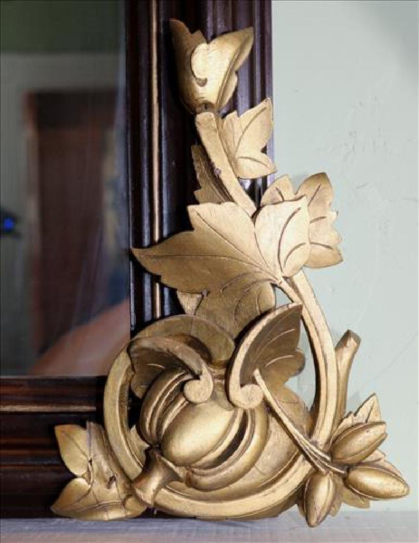 Walnut Victorian over the mantle mirror with crown - 3