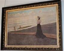 Large Oil on Canvas of Lady at Seashore, Has Museum