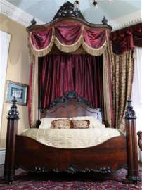 Rosewood rococo 3 quarter tester bed by Mallard