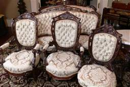 8 piece rosewood rococo laminated parlor suite by