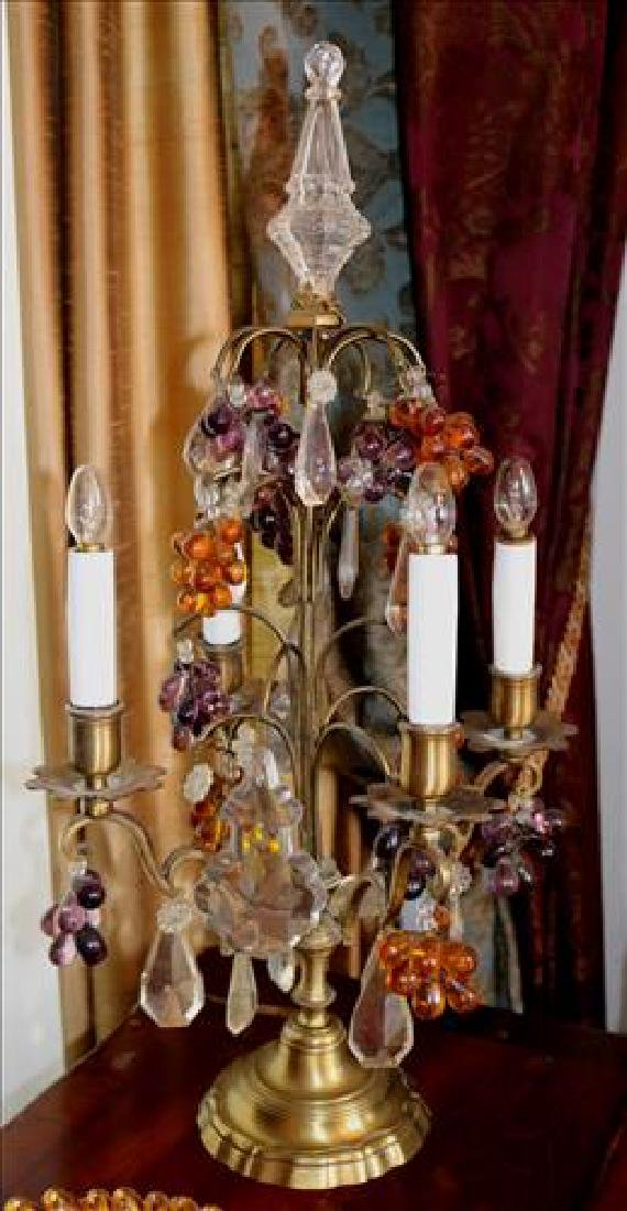 Pair Victorian antique buffet lights, bronze with