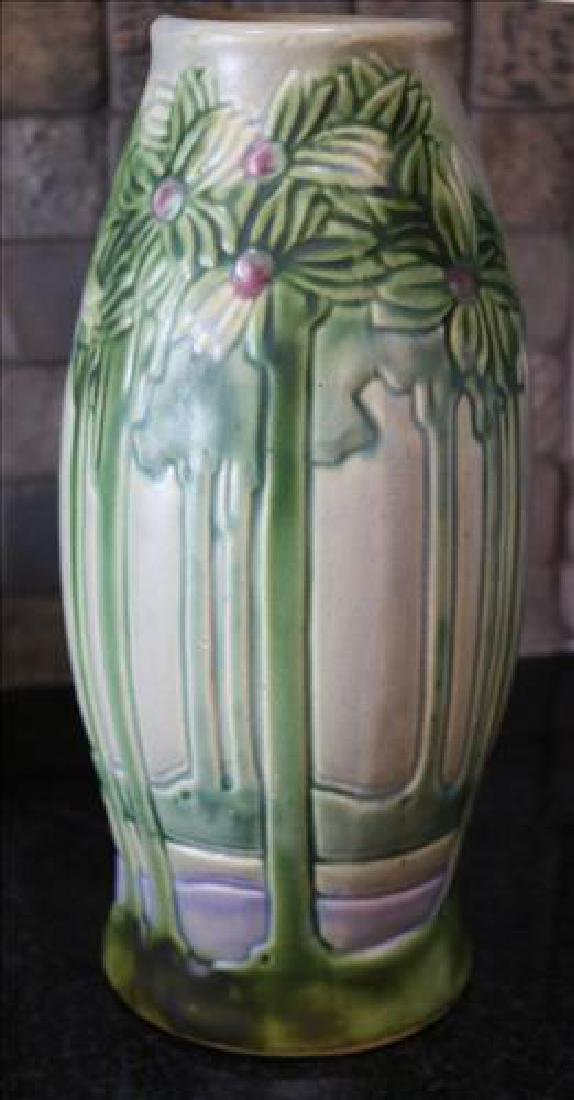 Very early Roseville vase green with flowers, 12 in. T.