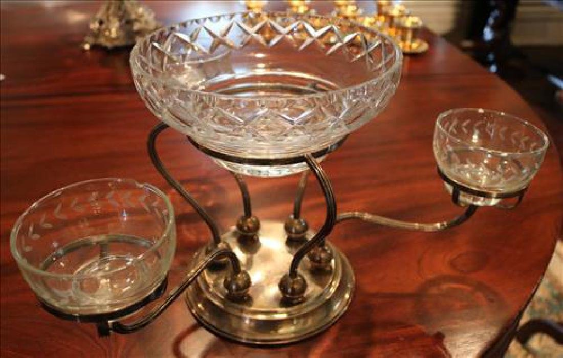 Silver-plate epergne with etched glass inserts, 16 in.