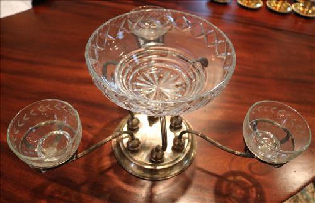 Silver-plate epergne with etched glass inserts, 16 in. - 2
