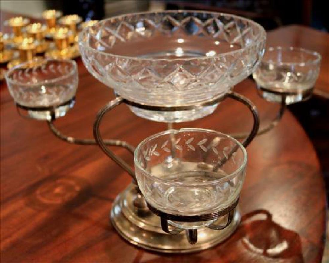 Silver-plate epergne with etched glass inserts, 16 in. - 4