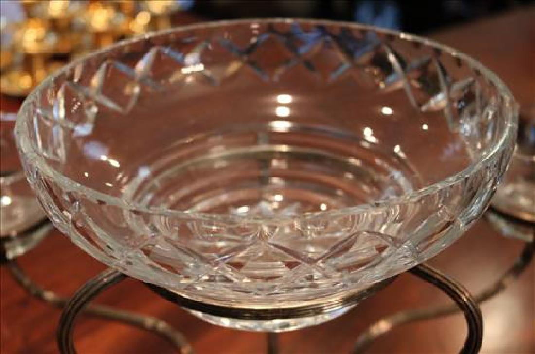Silver-plate epergne with etched glass inserts, 16 in. - 5