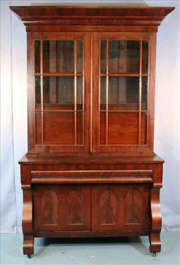 Mahogany Empire wide secretary with individual glass