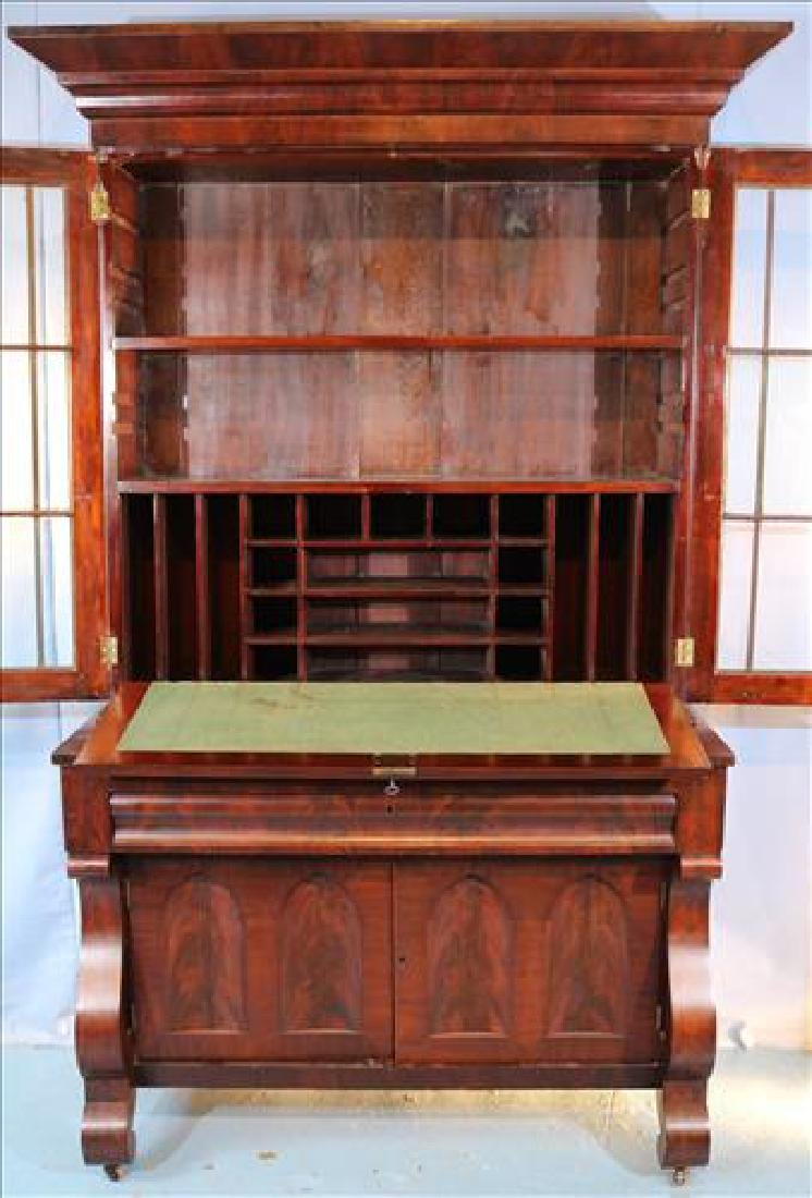 Mahogany Empire wide secretary with individual glass - 3
