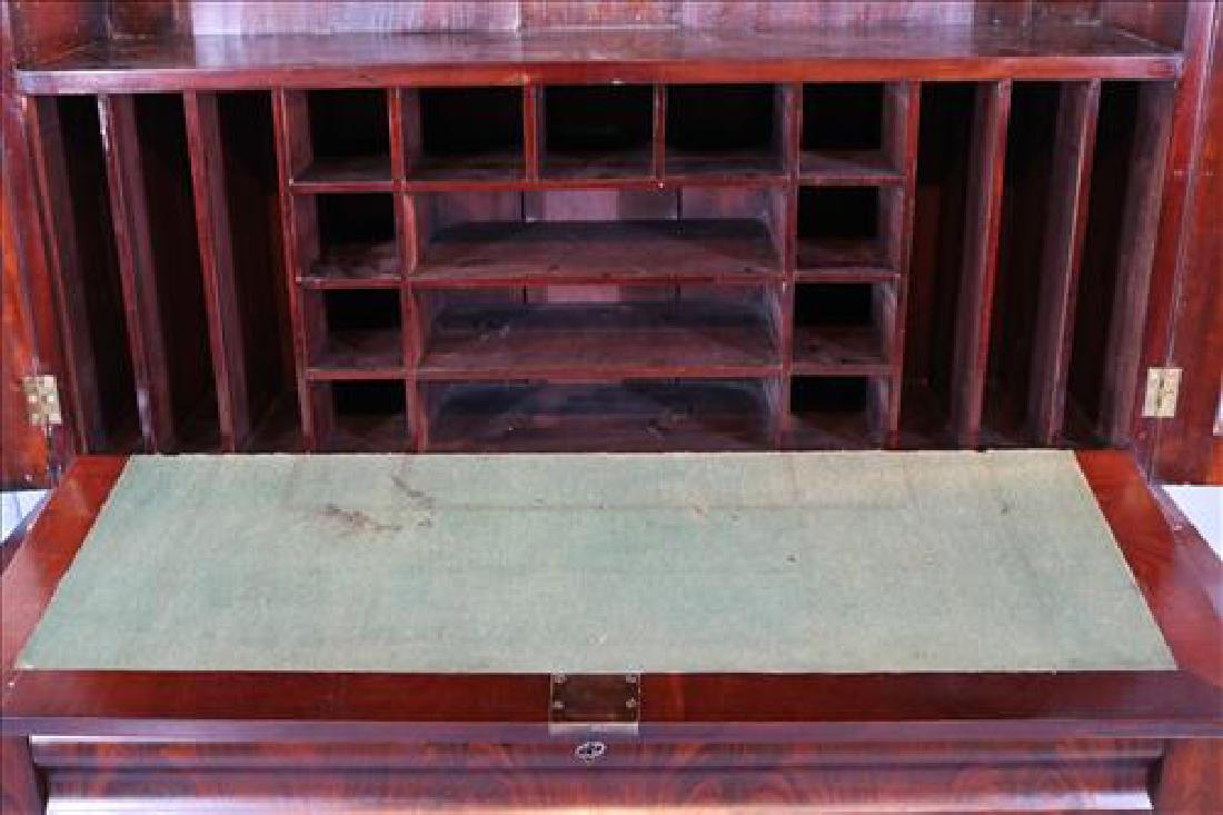 Mahogany Empire wide secretary with individual glass - 4