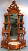 Walnut Victorian etagere with mirrors and base