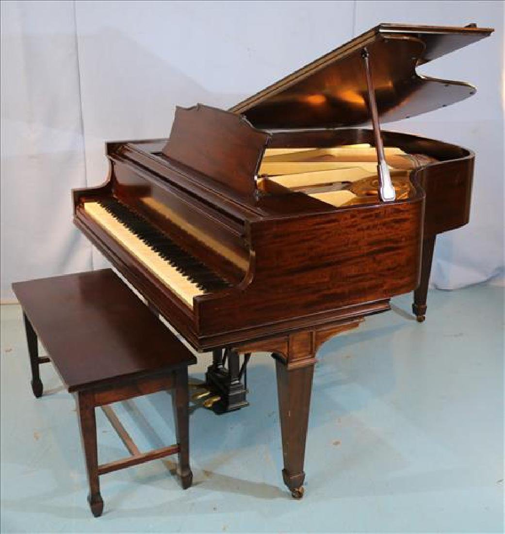 Mahogany parlor grand piano by William Knabe Co.