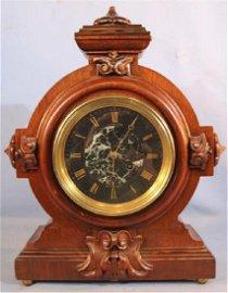 Walnut Victorian mantle clock signed Herter Bros.